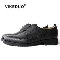 Vikeduo ручной работы черные классические роскошные Свадебная вечеринка на шнуровке Туфли под платье Мужская обувь из натуральной кожи мужски