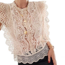 Floral Lace Sexy Tees Blouses Women Fashion Sleeveless Shirts Blouses Women Elegant Ruffles Tops Blusas Female Ladies CY05(China)