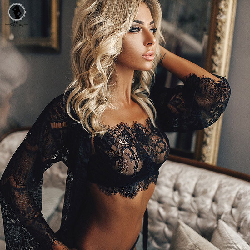 46981caab5b6d ALINRY lace sexy bra panty set women full cup push up lingerie bralette  wire free plus size transparent thin intimate underwear-in Bra   Brief Sets  from ...