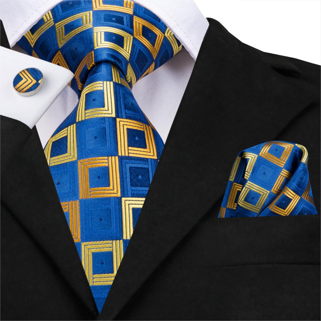 Hi-Tie Men Plaid Ties Blue Silk Checked Tie Set Pocket Square Cufflinks Business Wedding Tie Gift For Father Formal Wholesale