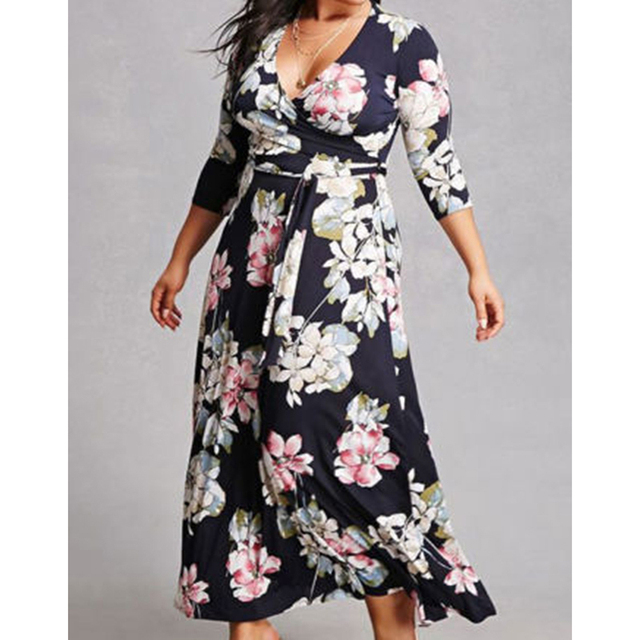 217 new Women Floral Print Boho maxi Dress ladies fashion casual three quarter sleeve v-neck sexy bandage long dress plus size