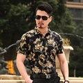 Лето Новый стиль мода гавайский тропические цветы мужские рубашки с коротким рукавом человек летом цветочный рубашку