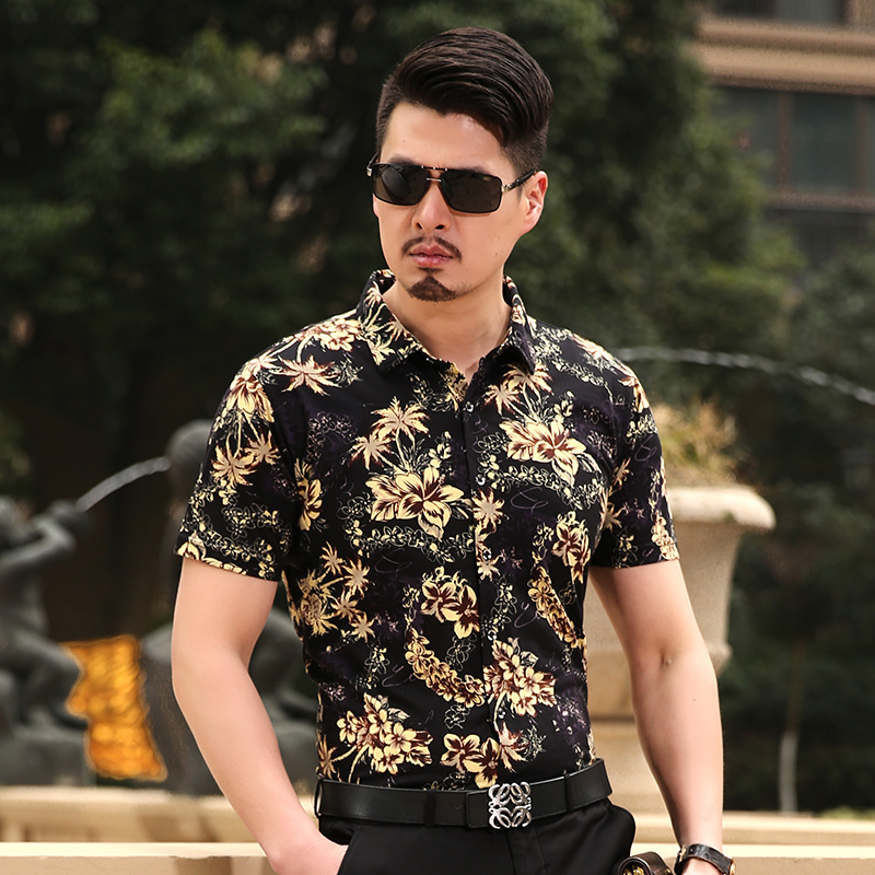 New summer fashion mens floral shirt short sleeve male for Mens dress shirts fashion