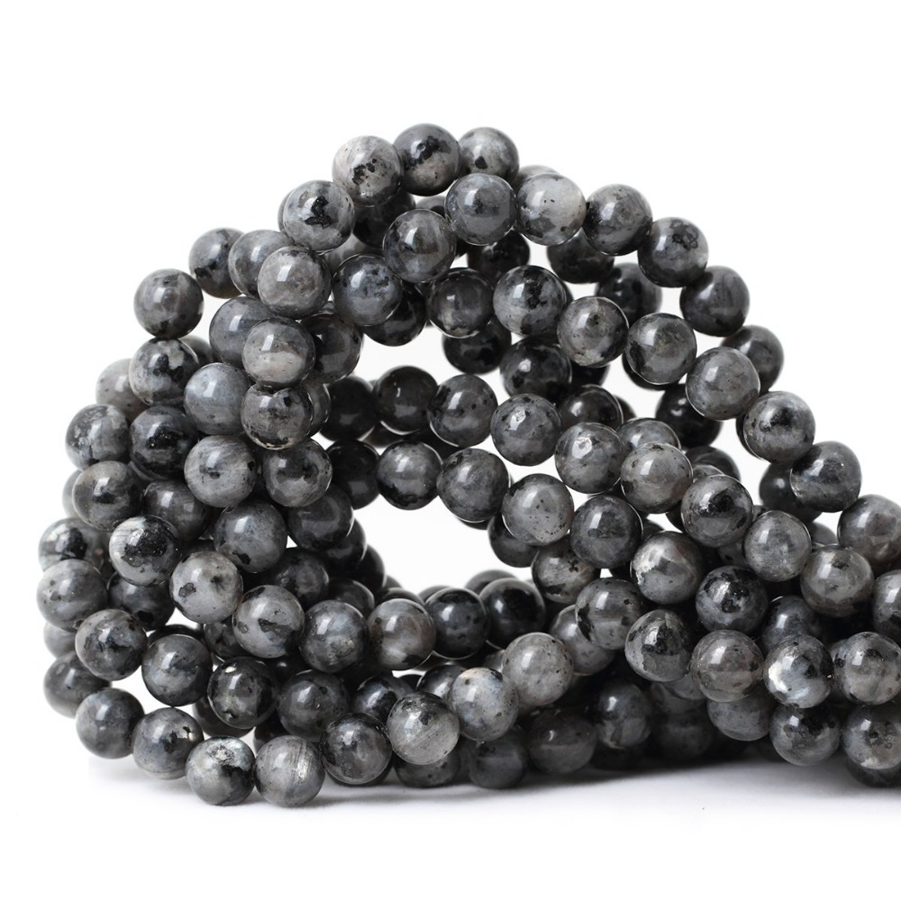 """10mm Natural Black Labradorite Round Larvikite Loose Beads 15/"""""""