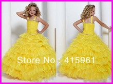 2013 Yellow Tiered Organza Ruffles Ball Gown Communion Dresses Flower Girl Dress Straps F170