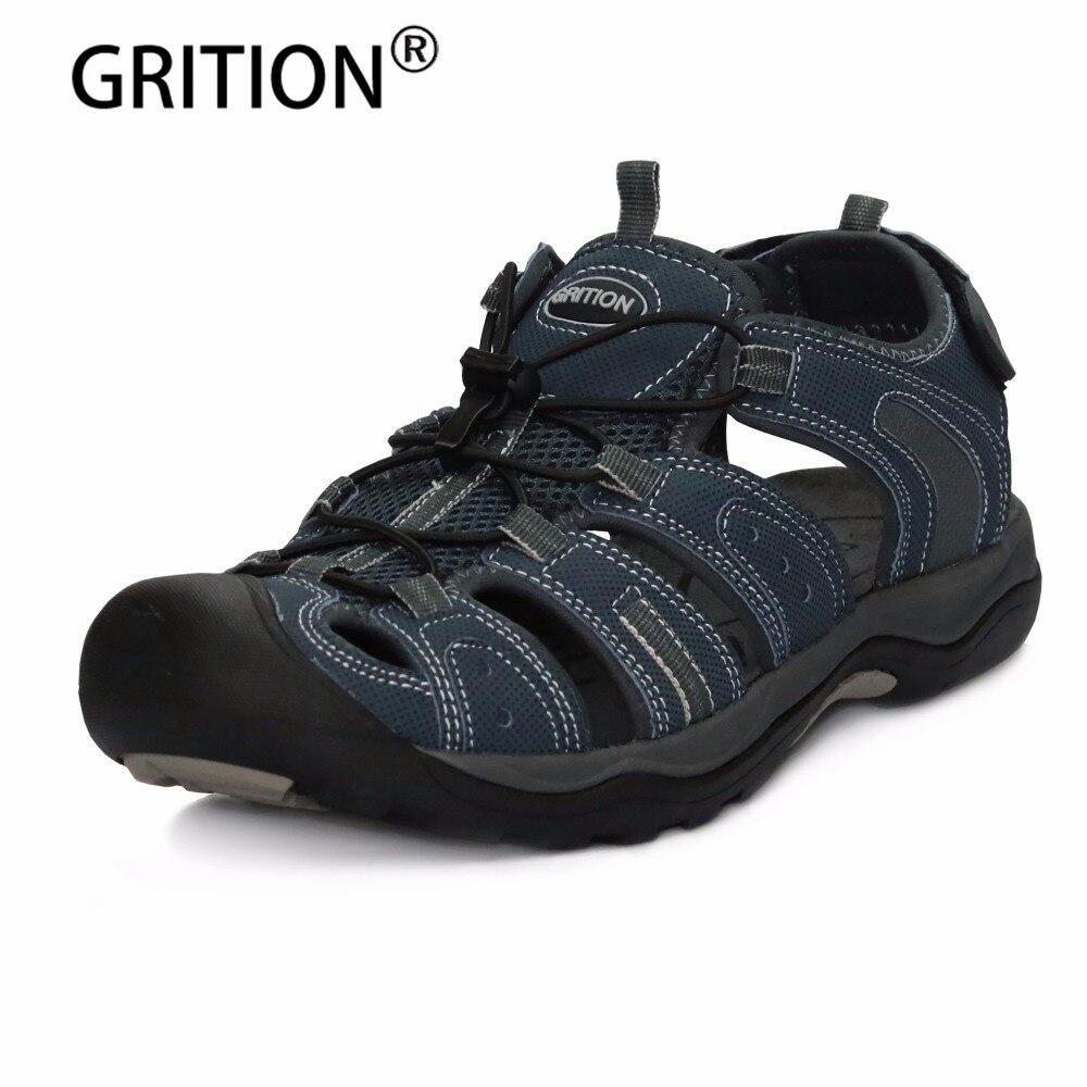 GRITION/Новое поступление модные летние мужские сандалии мужские пляжные сандалии для прогулок обувь без застежки большой размер (40)-46 высокое ...