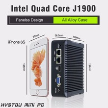 quad core mini pc j1900 SSD 2 lan port baytrail fanless minipc windows 7 firewall router X86 desktop thin client small computer