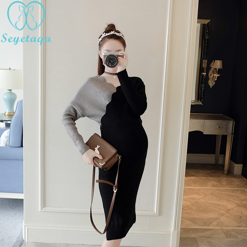 8984# Patchwork Knitted Maternity Dress Deep V Neck for Nursing Autumn Winter Fashion Clothes for Pregnant Women Warm Pregnancy