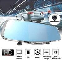 KROAK 5 1080P HD Dual Lens Car DVR Rearview Mirror Recorder Dash Cam Night Vision Camera
