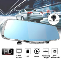 KROAK 5 1080P HD Dual Lens Car DVR Rearview Mirror Recorder Dash Cam Night Vision Camera