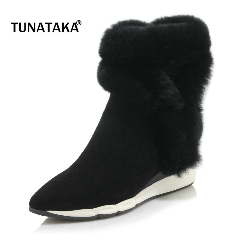 Shoes Woman Suede Winter Warm Platform Wedges Fur Snow Boots Fashion Pointed Toe Side Zipper Dress Ankle Boots Black Khaki