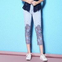 Nordic Winds 2017 Autumn Diamond Lace Water Soluble Flower Calf Length Pants Light Blue Denim Women