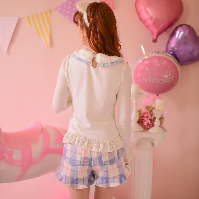 Princess sweet lolita blouse Candy rain Autumn winter cute fur collar Long sleeve lace knitting blouse C16CD6120
