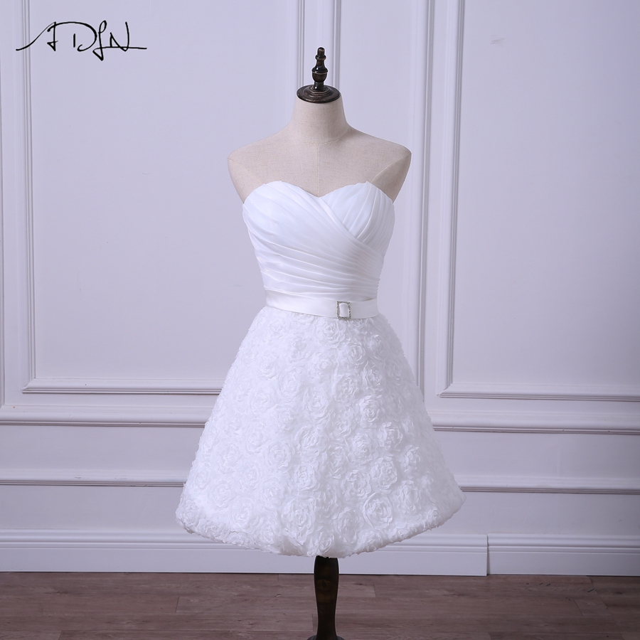 ADLN Short Wedding Reception Dresses Cheap White/Ivory Bridal Gown With Flowers Simple A-line Lace Mini Little White Dress