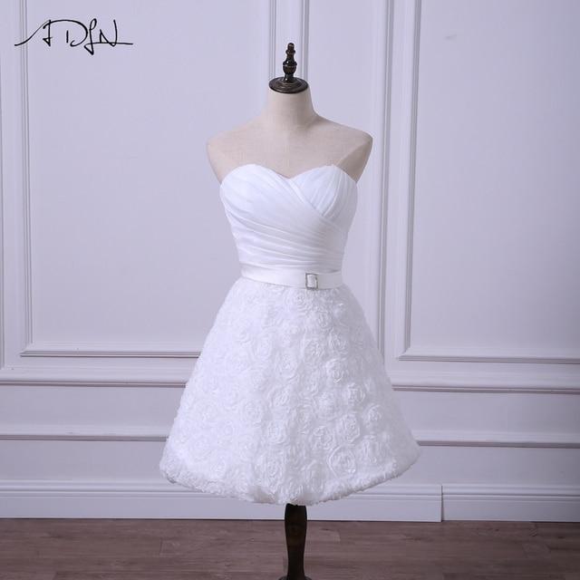 e29777a88 ADLN قصيرة حفل زفاف فساتين رخيصة الأبيض/العاج فستان زفاف مع الزهور بسيطة  ألف خط