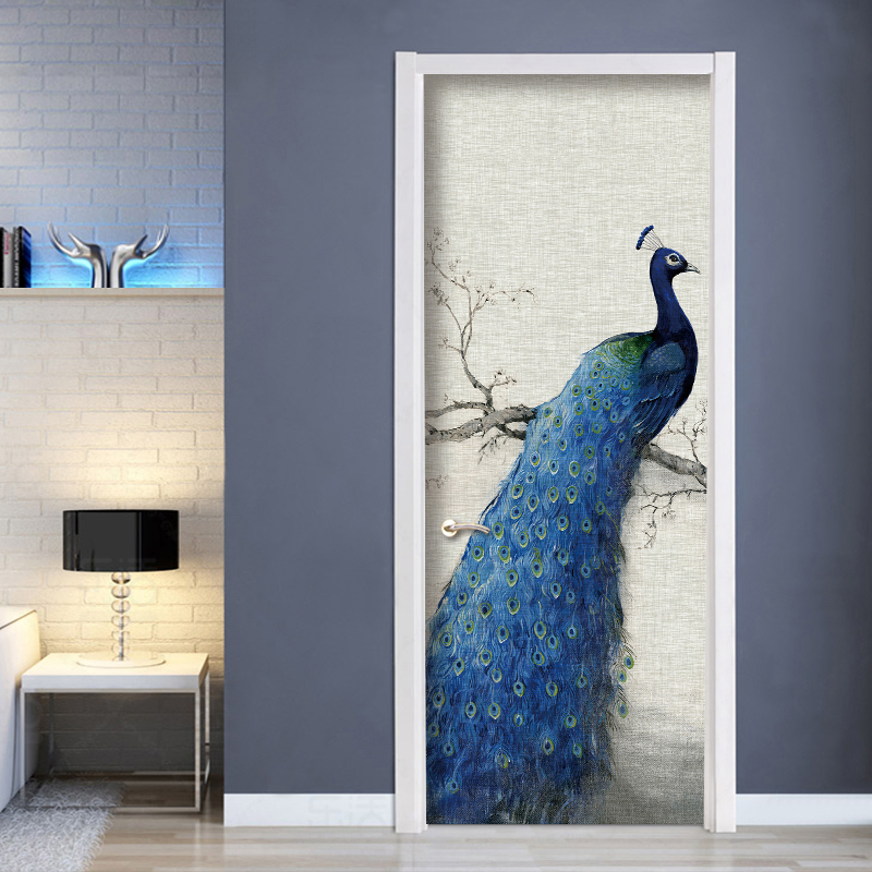 цена на Bedroom Door Sticker Wall Painting Peacock Room Door PVC Self-adhesive Waterproof Door Stickers Home Decor Wallpaper Mural 3D