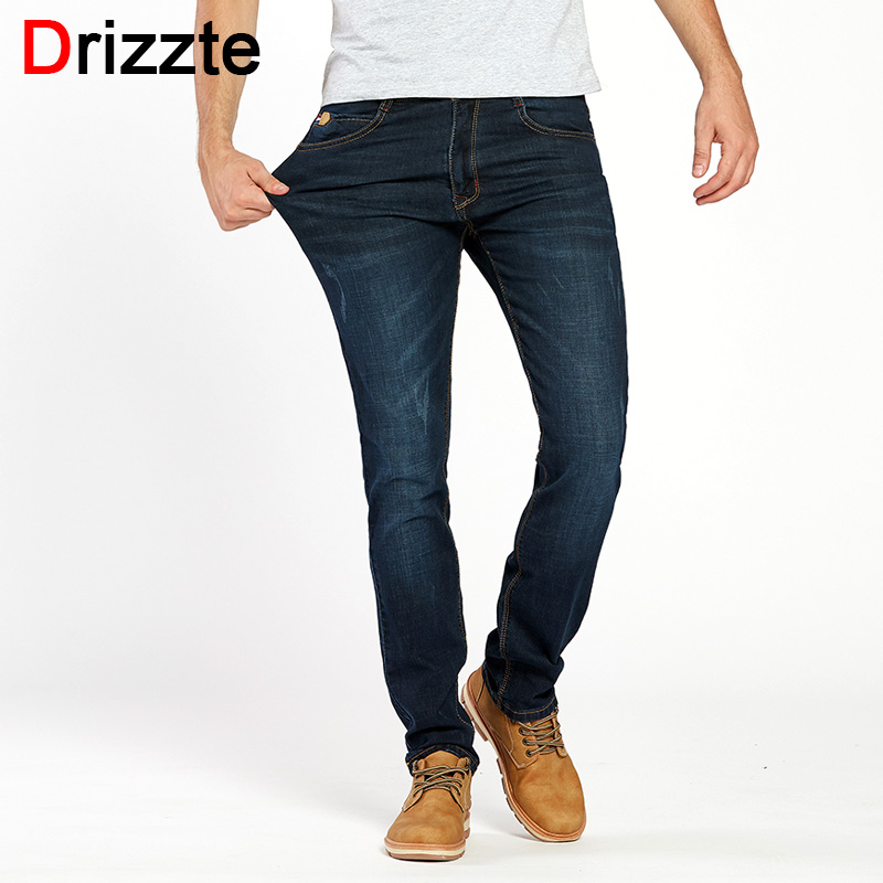 Drizzte Brand Men Stretch Denim Slim Jeans Black Blue Summer Fashion Trendy Trousers Pants Size 28 - 36 38 40 42 For Men's Jean drizzte men s jeans classic stretch blue denim business dress straight slim jeans size 34 35 36 38 pants trousers jean for men