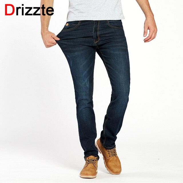 d2e0fe0fa963c Drizzte العلامة التجارية الرجال تمتد الدينيم جينز ضيق أسود أزرق الأزياء  العصرية بنطلون السراويل حجم 28