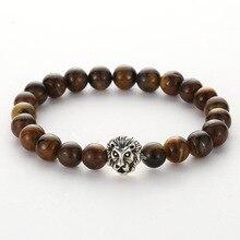 Vintage Jewelry Silver Buddha Leo Lion Head Bracelet Black Lava Stone Beaded Bracelets For Men Male Wholesale