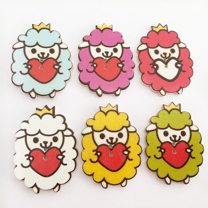 50pcsbag Lovely Cartoon Sheep Style Wooden Buttons Decorative Clothing Wood Buttons Sewing Accessories DIY Needlework Materials