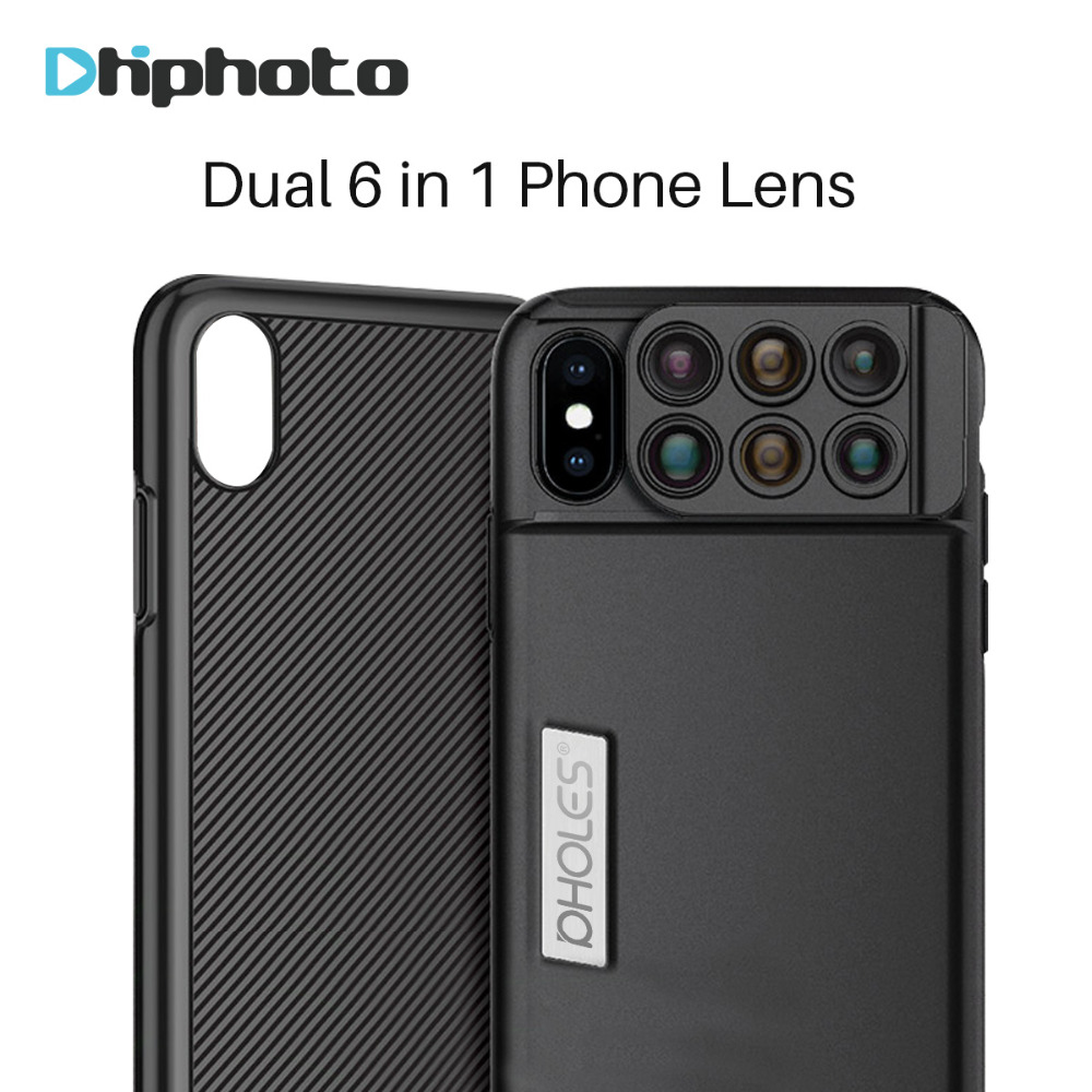 Pholes 6 in 1 Dual Camera <font><b>Lens</b></font> Wide Angle Macro Telescope Fisheye <font><b>Zoom</b></font> <font><b>Lenses</b></font> for iPhone X with <font><b>Phone</b></font> Case