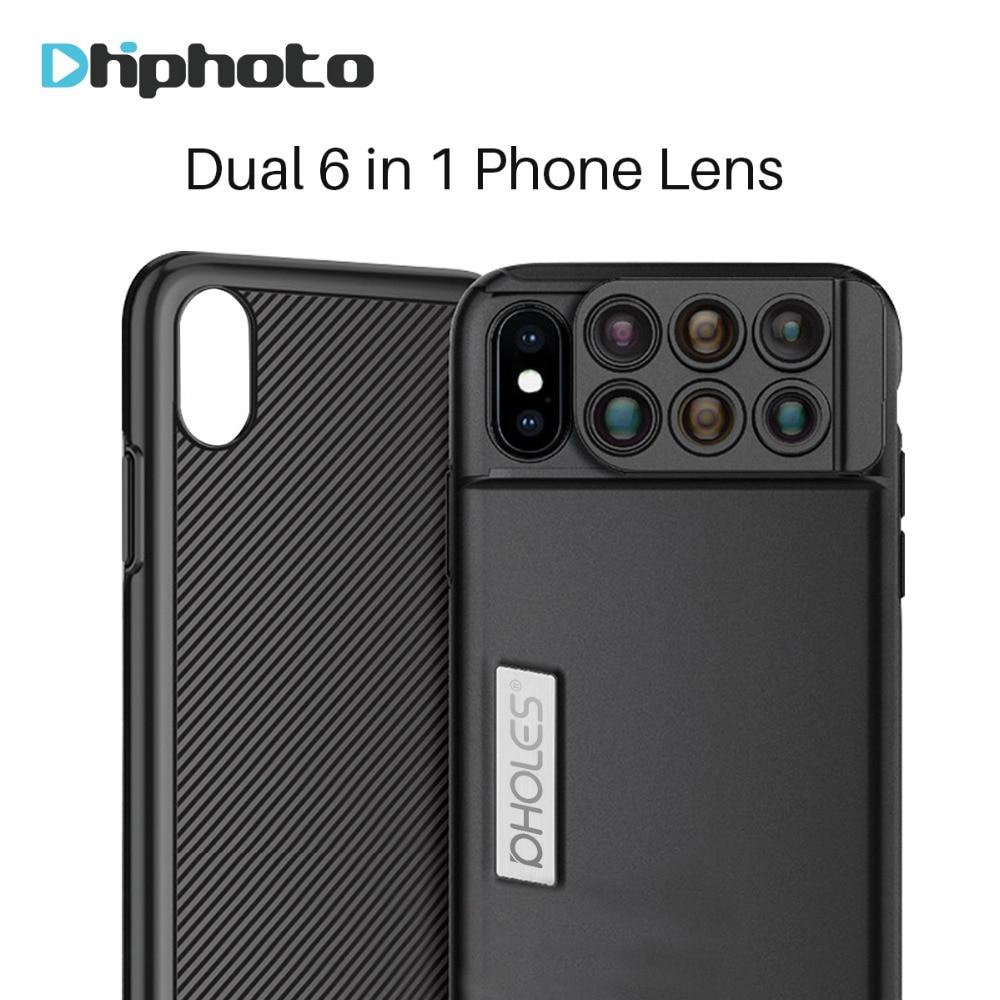 Pholes 6 in 1 Dual Kamera Objektiv Weitwinkel Makro Teleskop Fisheye Zoom Linsen für iPhone X mit Telefon Fall