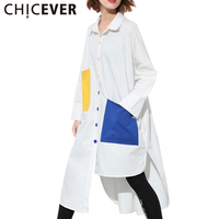 CHICEVER Summer Irregular Pockets Women S Shirt Dress Tunic 2017 Long Sleeve Loose Dresses Female Tops