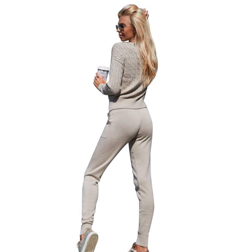 MVGIRLRU kobiety sweter kombinezon na co dzień dzianinowe swetry spodnie 2 sztuka zestaw damskie dresy