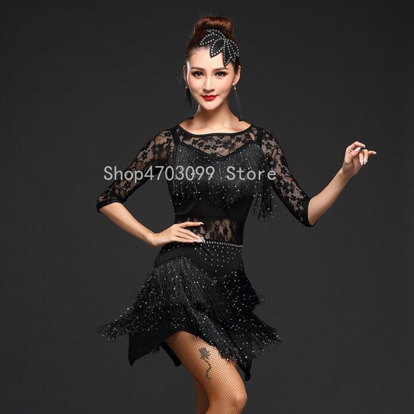 cc0a27d460aba 2019 new models Women Competition Dance Clothes Sequins Costume Set Fringe Salsa  Dresses Ballroom Dance Ladies