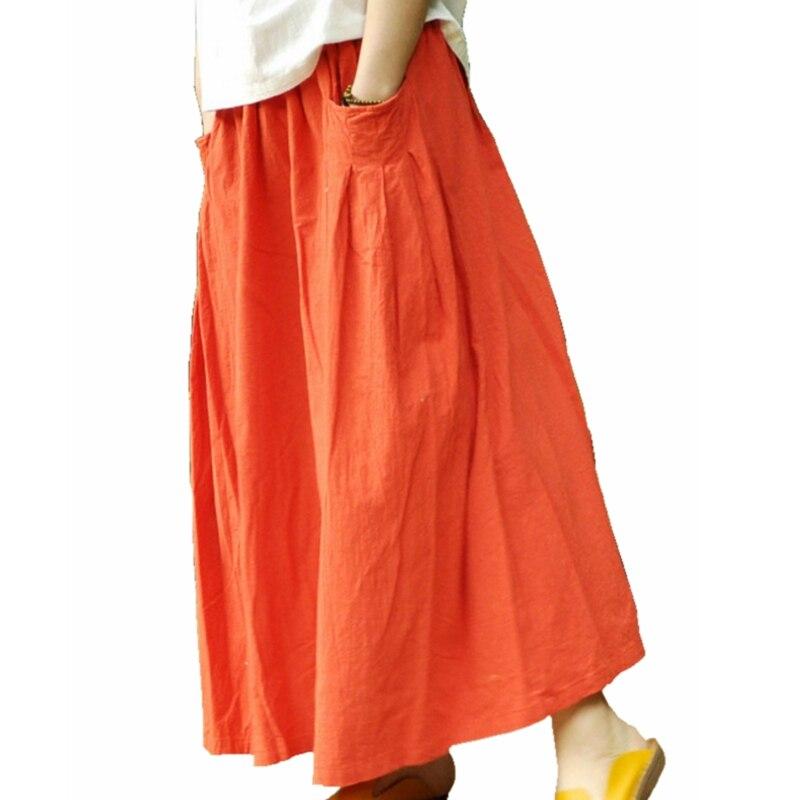 mori pleated maxi skirt cotton linen big pockets maxi
