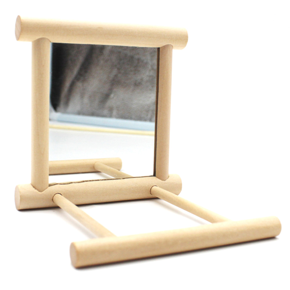 Funny Wooden Bird Toy Mirror Stand Platform Toys For Parrots Cockatiel Vogel Bird Mirror Cage Stand Bar Accessories 10*10*10