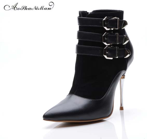 Newest 2019 spring women genuine leather women boots party Sexy pointed toe metal buckle thin heels ladies Fashion design shoesNewest 2019 spring women genuine leather women boots party Sexy pointed toe metal buckle thin heels ladies Fashion design shoes