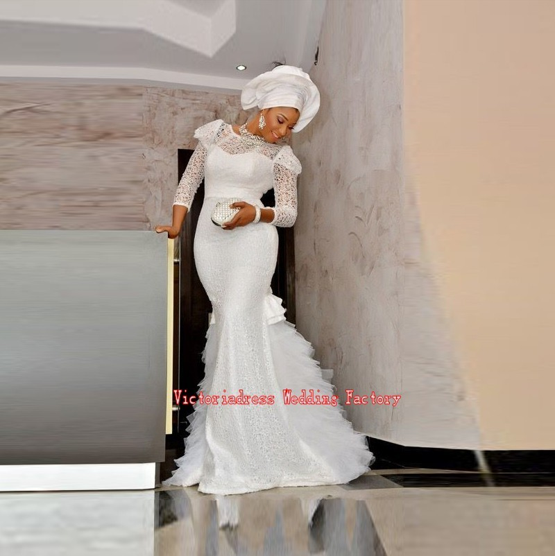 New-Arrival-Africa-Nigeria-Dress-Three-Quarter-Sleeve-Mermaid-Floor-Length-Long-Evening-Dress-White-Lace_conew1