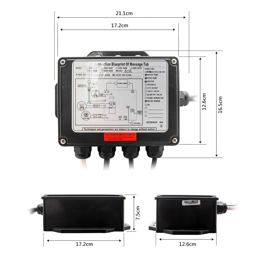 Painel de controle digital redondo da c.a. 110 v/220 v com tela lcd ce certificado spa combinação massagem água banheira controlador kits-4