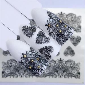 Image 4 - YZWLE 2020 été nouvelle dentelle fleur Design autocollant à ongles décalque transfert deau blanc noir conseils femmes maquillage tatouages
