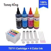 T0711 T0712 T0713 T0714 Refill Tinte Patrone für EPSON Stylus DX6050 DX7400 DX7450 DX8400 Drucker + 4 Farbe 100 ml refill Tinte