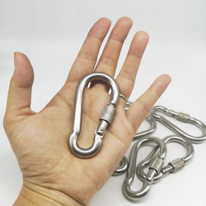 10pcs M8 Metal Screw Lock Carabiner Hook Snap Clip D-Ring Outdoor Snap