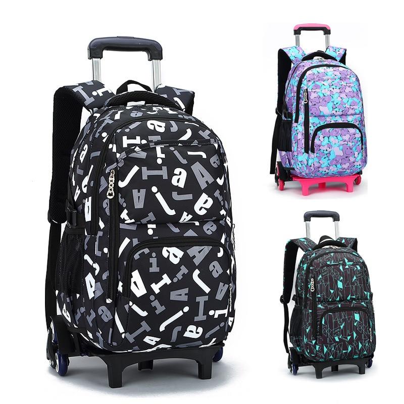 Kids Boys Girls Trolley Schoolbag Luggage Book Bag Backpack Latest Removable Children School Bags 2/6 Wheels Stairs Trolley Bag