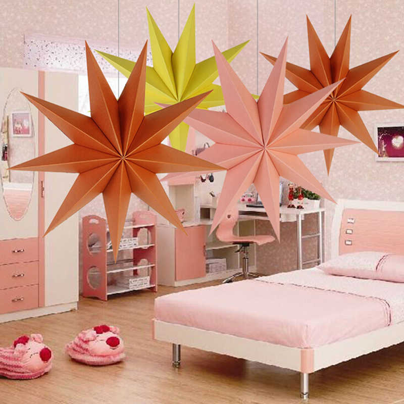 Nine-corner Star Lampshade Hanging Colorful Paper Star Activity Christmas Wedding Ornaments Paper Lanterns Lampshade Party Decor