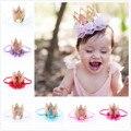 Baby girl primera fiesta de cumpleaños tapa decoración hairband Princesa Corona de La Reina del cordón Del Pelo Venda Elástico Headwear envío gratis WYQ