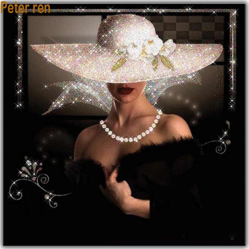 เต็มรูปแบบเพชรเย็บปักถักร้อยหมวกความงาม Pearl Diamond ภาพวาดที่สวยงามสาว DIY งานฝีมือ 3D สแควร์เพชร Mosaic beadwork ภาพวาด