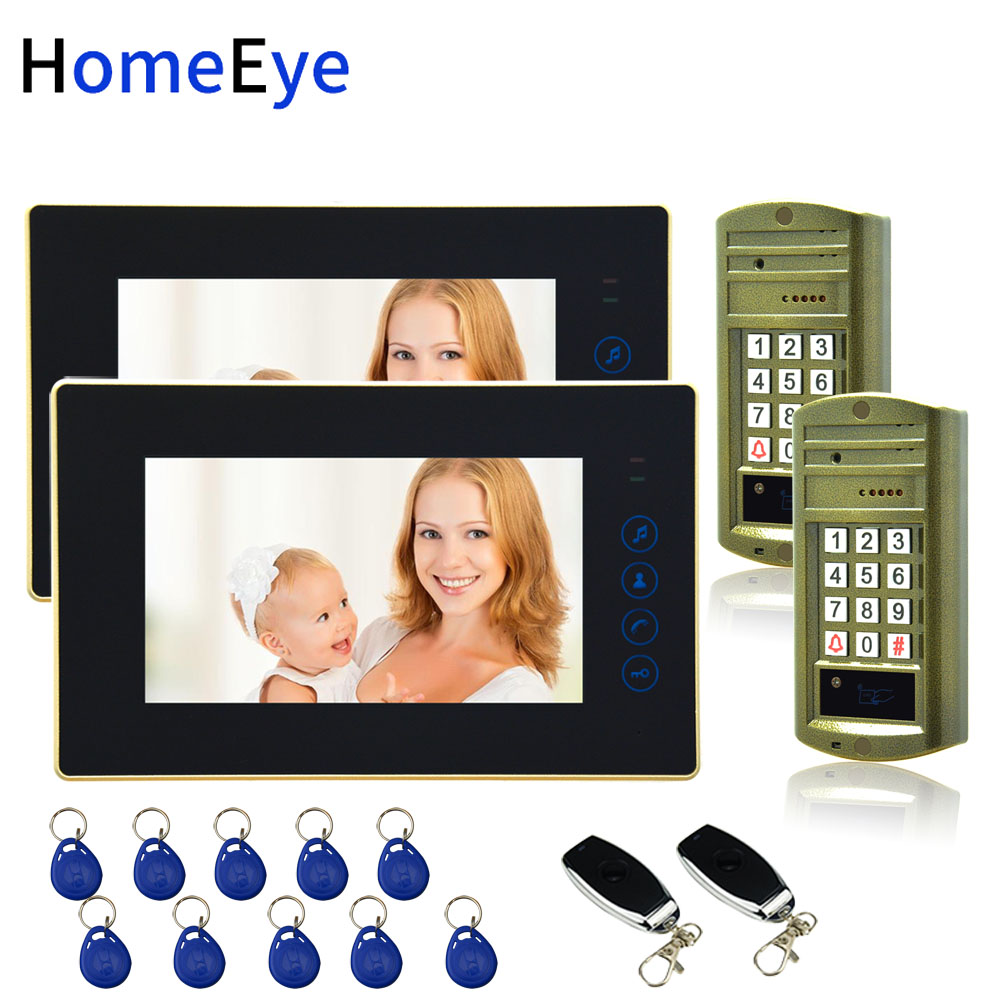 Password ID Card Remote Unlock 7 39 39 Video Door Phone Video Intercom Door Bell Home Access Control System for 2 Doors Waterproof in Video Intercom from Security amp Protection