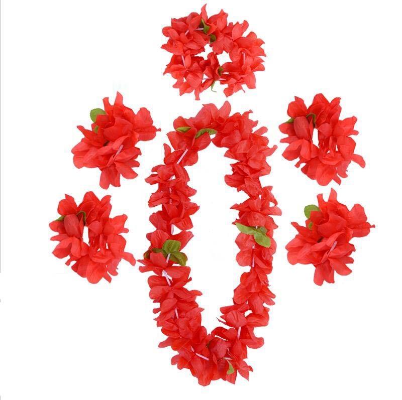 Tropical Party Favors Hawaiian Necklace Wreaths Leis Flower Garland Luau Beach Hula Wedding Birthday Costume Accessory