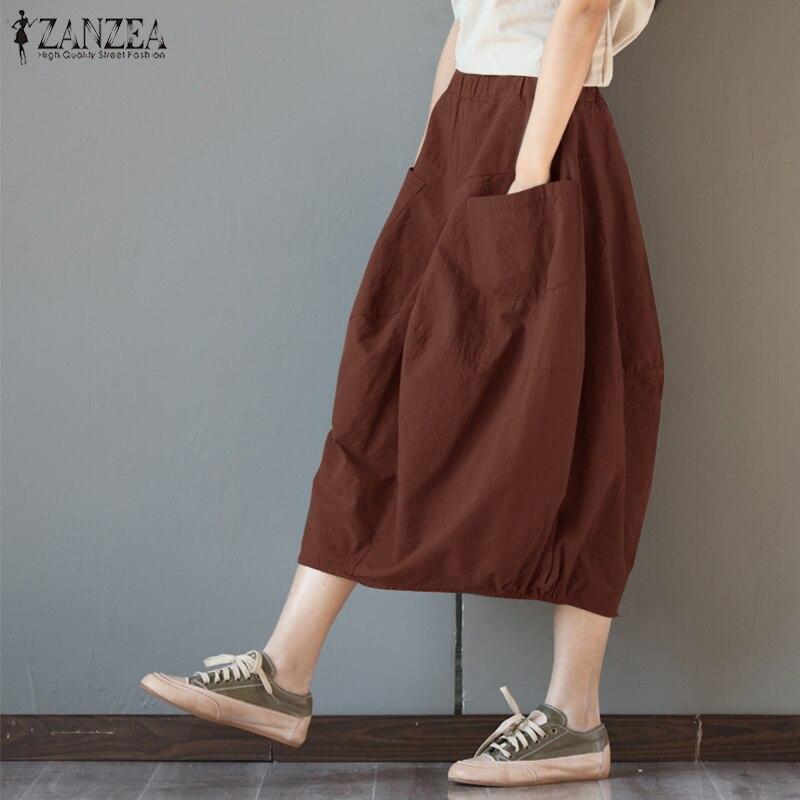 ZANZEA Women Cotton Linen Skirts Pockets Casual Skirt 2019 Summer Midi Skirt Baggy Party Jupe  Faldas Lantern Plus Size