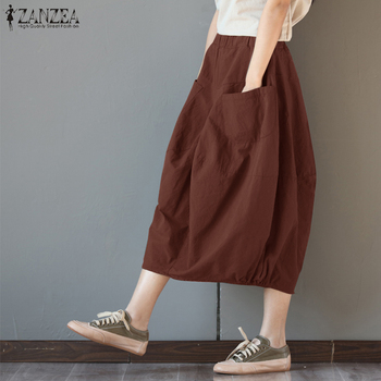 ZANZEA Women Cotton Linen Skirts Pockets Casual Skirt 2020 Summer Midi Skirt Baggy Party Jupe  Faldas Lantern Plus Size цена 2017
