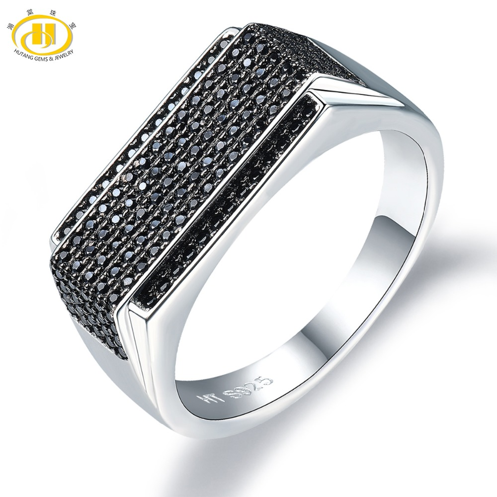 Hutang Men Jewelry Natural Gemstone Spinel Solid 925 Sterling Silver Ring Fine Fashion Stone Jewelry For Father's Day Gift New fine jewelry 925 silver natural prehnites gemstone natural grape stone trumpet ring father s day gift