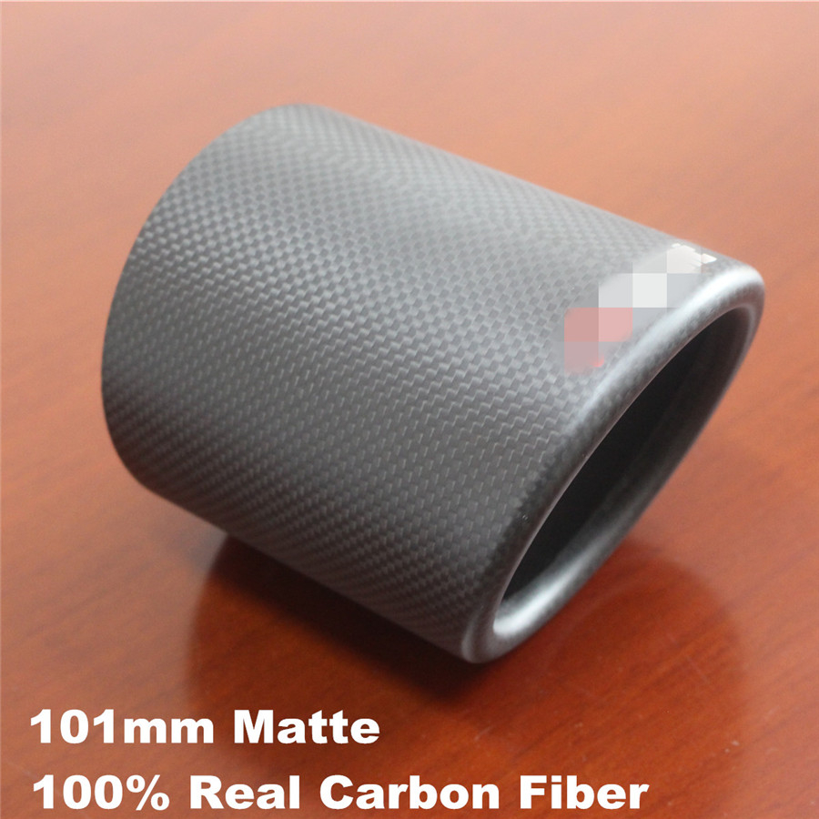 1x Universal 101mm Carbon Fiber Car Exhaust pipe Cover Matte Come with a logo