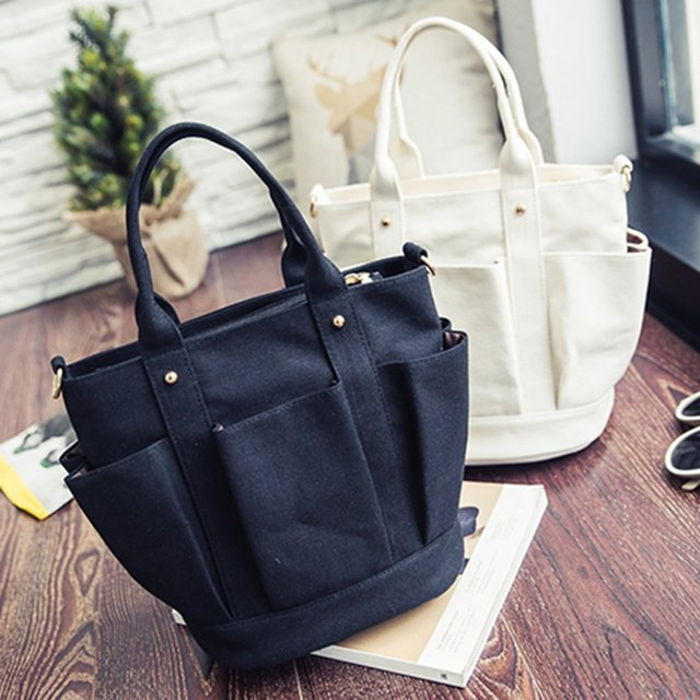 Fashionable Female Solid Color Handbags Women Casual Canvas Tote Bags Vintage Women Handbags Ladies Crossbody Bags 4