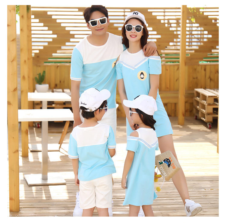 HTB1ODYrcoKF3KVjSZFEq6xExFXan - Summer Clothes Family Matching Outfits Dad Son Short Sleeve T-Shirt Mother Daughter Dresses Cute Blue White Dress Clothing