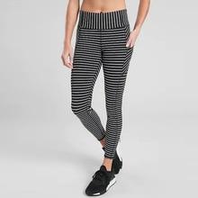 Striped mobile phone pocket stretch yoga pants hip high waist leggings female yoga leggings outdoor sweatpants high waist ruffle striped leggings